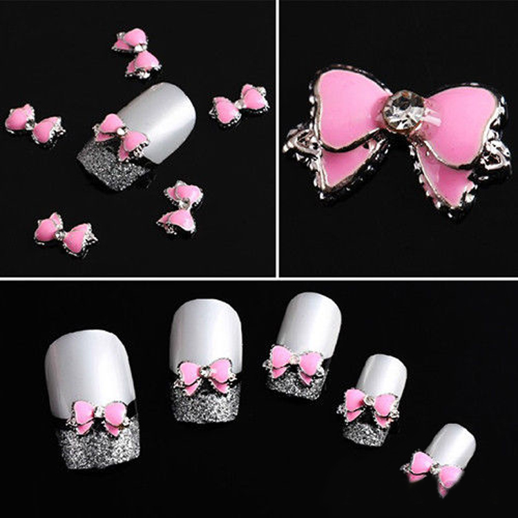 10Pcs 3D Pink Multi Rhinestones Bow Tie Nail Art Decoration Stickers Diy Drop Shipping NA-0101-PK-10PCS(China (Mainland))