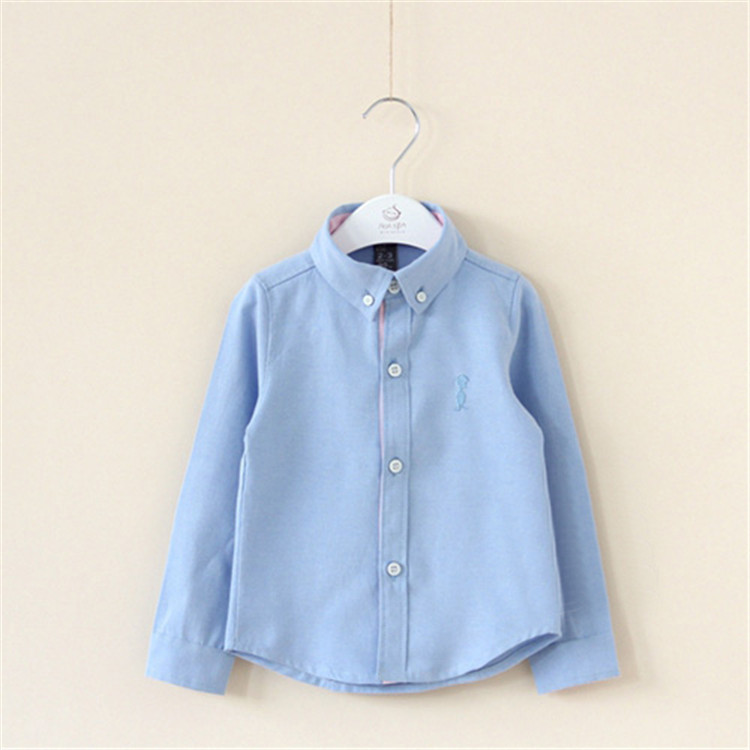 2015 spring and autumn baby boys solid color shirts little boys long sleeve shirts boys turn down collar clothing A2431(China (Mainland))
