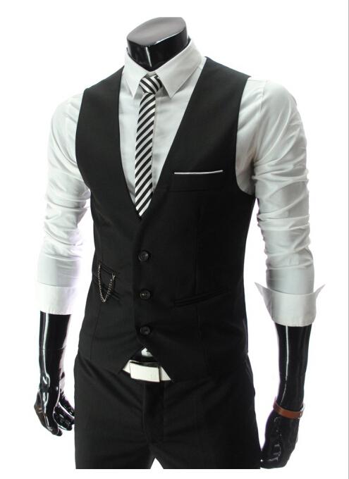 Fashion 2015 Men's Suit Vest Business Slim Custom Fit Handsome Vest Men Suits Blazer Black/White/Gray Vest 5 Size Suit For Men(China (Mainland))