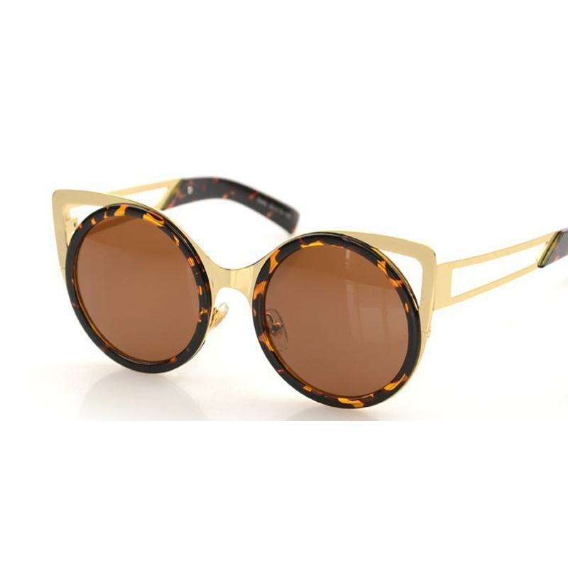 Ladies Metal Frame Glasses : Round CAT eye sunglasses women vintage fashion METAL frame ...