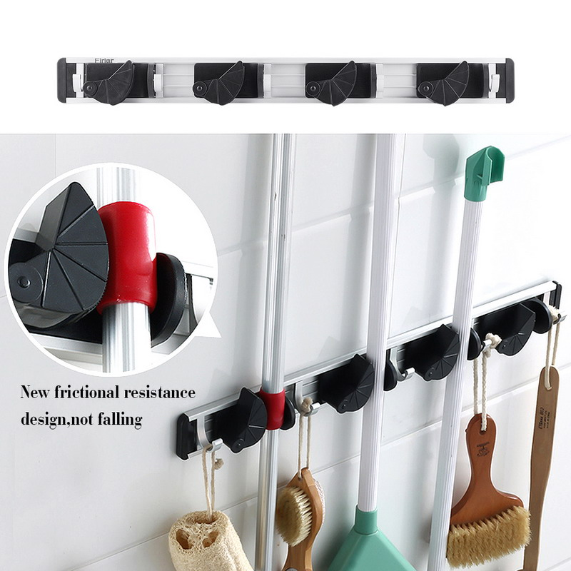 1 PC Wall Mount Mop Broom Holder Organizer Garage Storage Solutions Mounted 4 Position 5 Hooks For Shelving VG089 T47(China (Mainland))