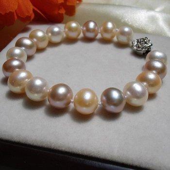 9-10MM Super Big Size 100% Genuine Natural Freshwater Pearl Bracelet Classical Bangle Fashion Jewelry, 30pcs/lot+Free Shipping