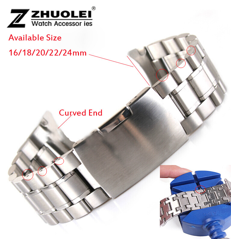 Silver 18mm 20mm 22mm 24mm New Mens Stainless Steel Bracelet Strap Replacement Wrist Watch Band(China (Mainland))