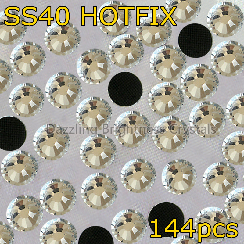 Big Size DIY Heat Garment Hot Fix Glass Stones SS40 8.5mm 144pcs Clear Crystal DMC Hotfix Rhinestones(China (Mainland))