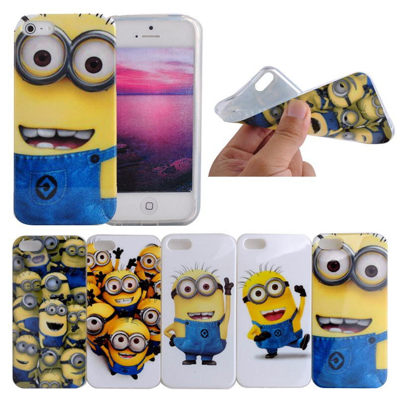 Cute Cartoon Despicable me Minions TPU Phone Cases for iPhone 5S Mobile Phone Bags Cases Soft skin Cover For iphone 5s case(Hong Kong)
