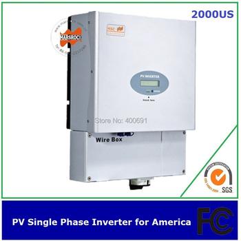2000w single phase pv inverter transformerless with MPPT 2 strings grid 60Hz American standard