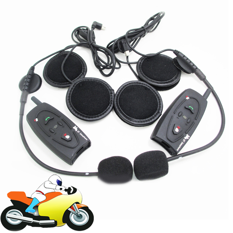 2x 500m motorcycle bluetooth headset helmet intercom ski snowmobile motorbike interphone for 2. Black Bedroom Furniture Sets. Home Design Ideas