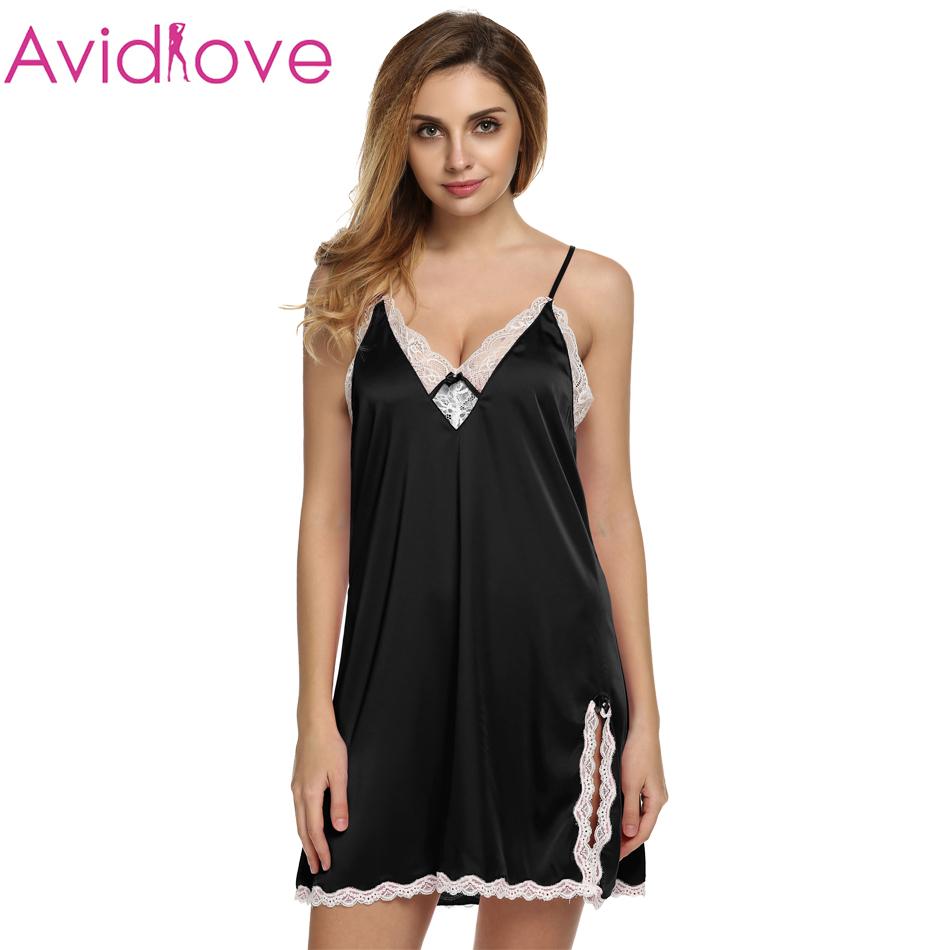 Ekouaer sleep dress Sexy Satin Sleepwear Silk Nightgown Women Nightdress Sexy Lingerie Plus Size S M L XL XXL Female Nightie(China (Mainland))