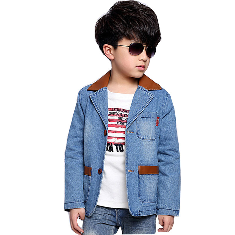 2015 New Kids Coat Denim Jacket Leather Collar Cotton Outwear Stylish Top Boys Leisure Coats - Max Dream store