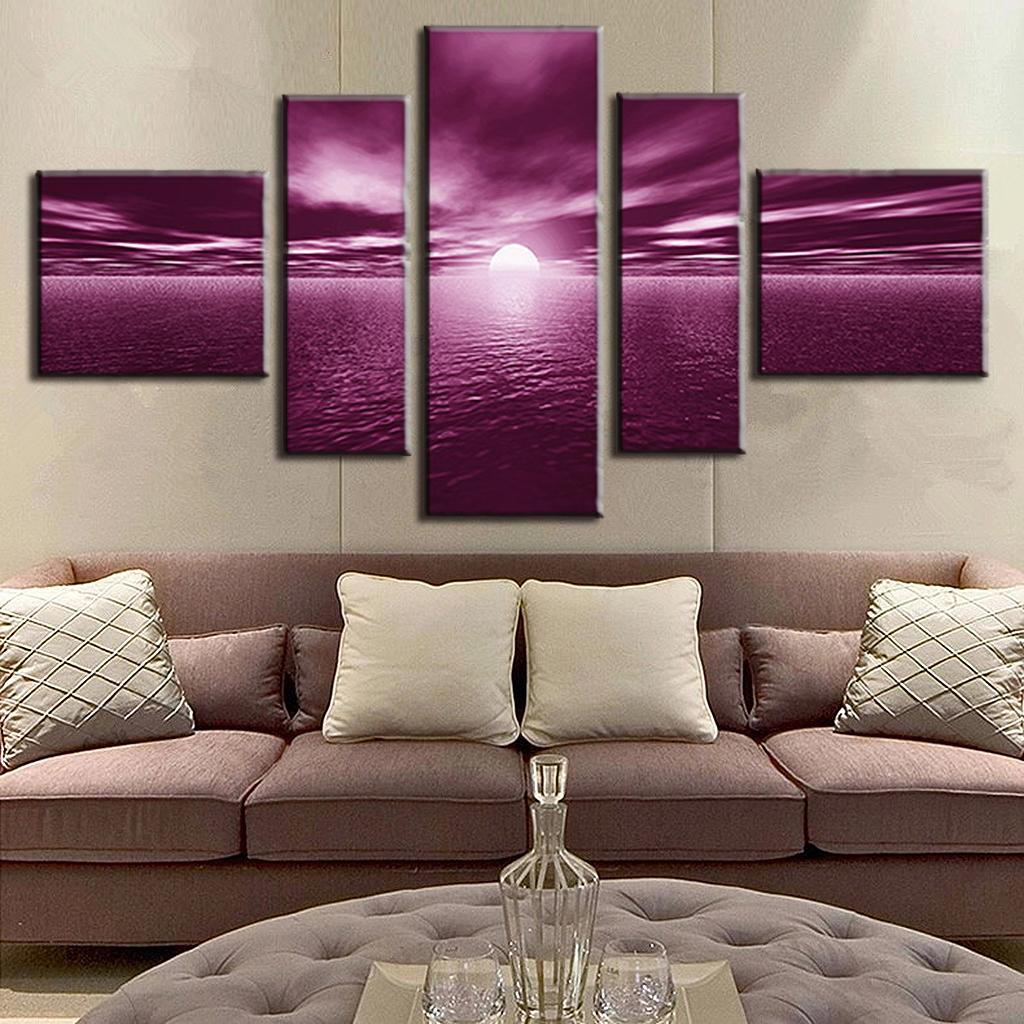 Hot Sale 5 Pieces Landscape Unframed Painting Plum Sea 1 panels modern wall painting wall picture SE5004(China (Mainland))