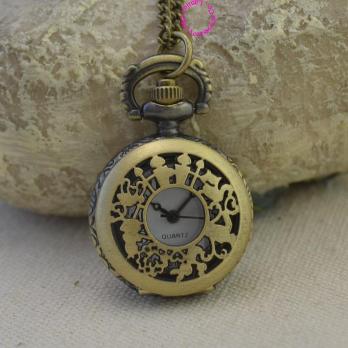 fashion quartz alice wonderland rabbit cat pocket watch woman vintage antique fob watches retro new bronze cartoon long chain - Chic Watches store