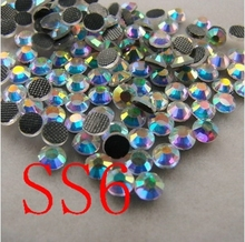 1440pcs/lot SS6 Crystal AB Colour Hot Fix Flatback Rhinestones Heat Transfer Design stone For Girl Clothing free shipping(China (Mainland))