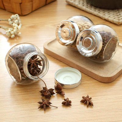 3pcs/Lot Kitchen Storage Containers Clear Glass Jar With Lid Small Salt Tea Sugar Storage Jars For Spices(China (Mainland))