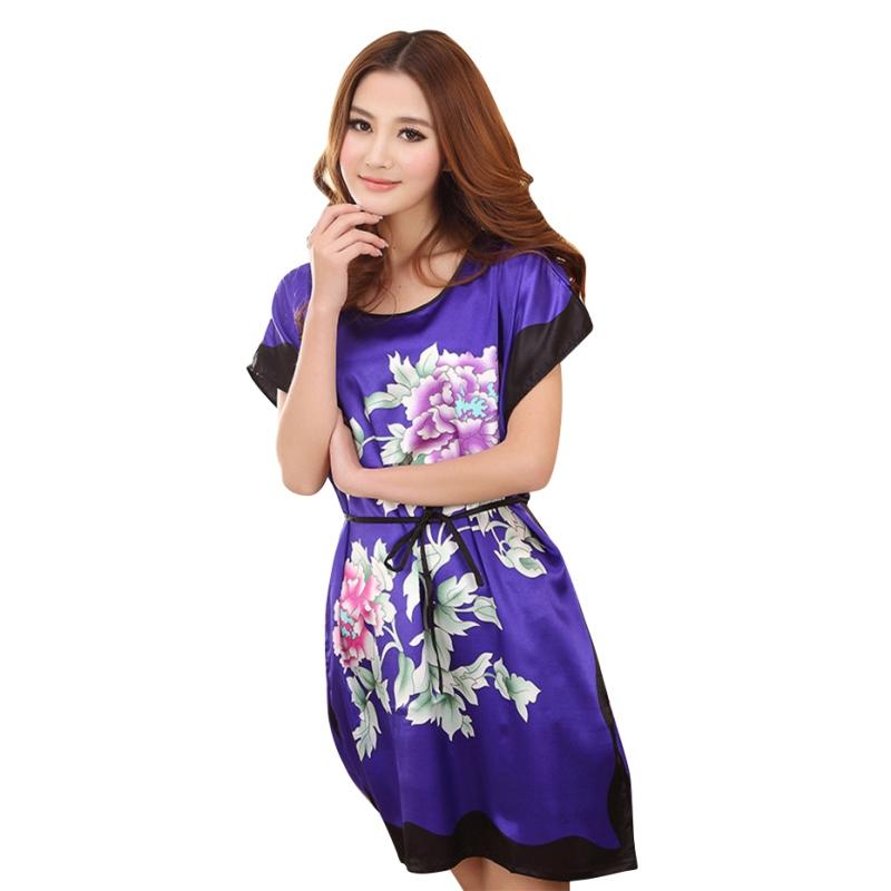 Ladies Sleepwear Dress Round Neck Printed Women Nightgowns Clothes Summer Autumn Latest