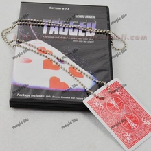 Tagged Necklace Knot Find Card box packing with DVD magic trick magic prop close up magic(China (Mainland))
