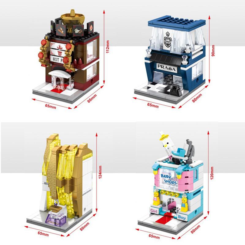 Funny Mini street view building block Baby store Hot pot shop profumeria bricks compatible withlego city toys for kids gifts(China (Mainland))