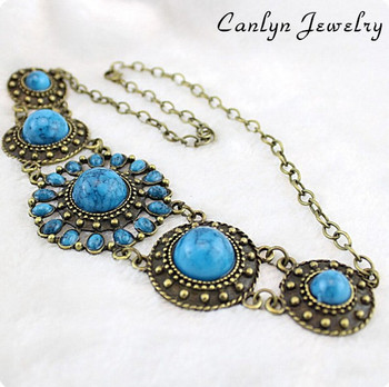 Free Shipping  Canlyn Accessories trendy  fashion vintage circle turquoise bijouterie Necklace & Pendant  CX074