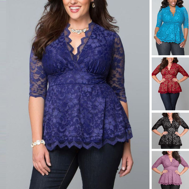 2016 Blouse Women Lady Clothing Big Plus Size Sexy Lace Flower Shirts Casual Hollow V-Neck Three Quarter Blouse Tops New Women(China (Mainland))