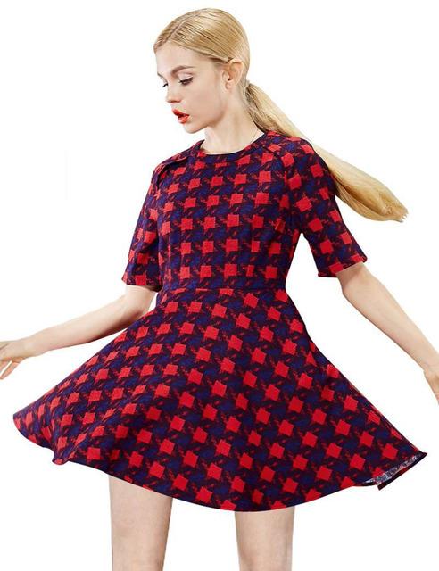 ELF SACK fashion brand new arrival 2016 autumn women color block plaid royal draped dress o-neck half sleeves free shipping