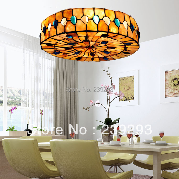 Antique Free Shipping 110-240V Indoor Tiffany Peacock Wedding Ceiling Decorations 14 Inch Shell Ceiling Lamp From China Factory<br><br>Aliexpress