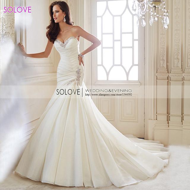 100% реального изображения элегантный Pleat бисером свадебное платье из органзы сексуальный ...