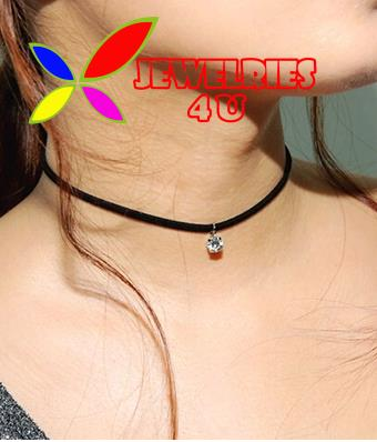 2016 Hot Faux Leather Choker Fashion Simple Black Velvet Rope Sparkling Crystal False Necklace for women collar Bijoux(China (Mainland))