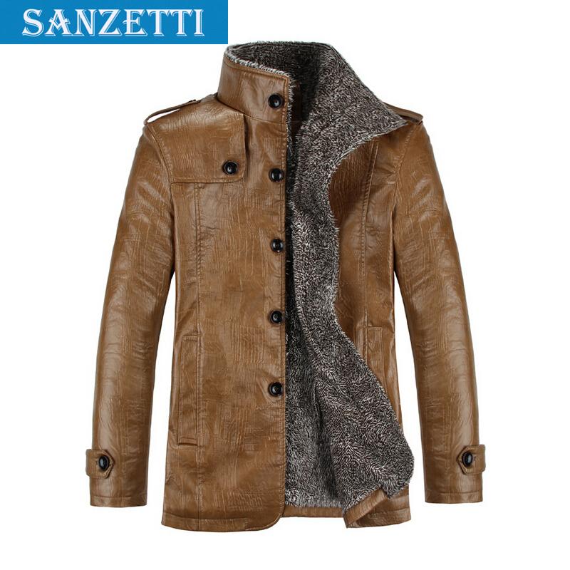 High Quality Jacket Men Winter Jackets Coat Thickening Waterproof Warm Leather Men Jacket Lamb Fur Coat Plus Size 4XL Sanzetti(China (Mainland))