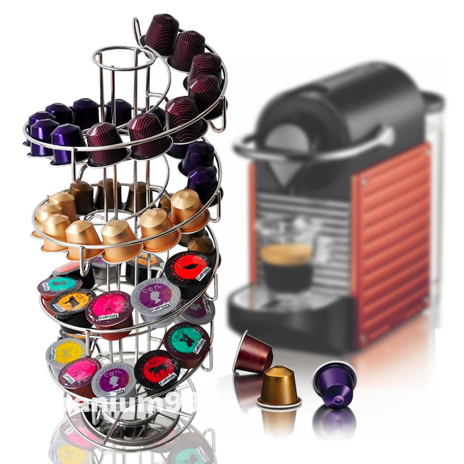 Rotating Capsule Holder Rack Pod Stand Dispenser For Store 50 Nespresso Capsules