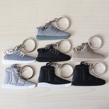 FREE SHIPPING BY DHL 1000pcs/lot Cheap Silicone Yeezy 350 Boost Keychain Sneaker Key Chains Mini Shoe Key Rings PVC Key Holders(China (Mainland))