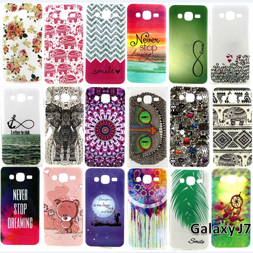 For Samsung Galaxy J7 J7008 J700F SM-J700F SM-J7008 Mobile Phone Rubber Silicone Bag Cover Cases Soft Beautiful Pattern TPU Case(China (Mainland))