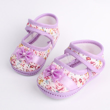 Girls flowers bow baby toddler shoes autumn Soft Sole Footwear First Walkers For Baby GirlsFree shipping