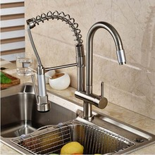 Buy Nickel Brushed Kitchen Faucet Swivel Spout Deck Mounted Sink Mixer Tap Single Handle Hole Hot Cold Water for $80.92 in AliExpress store