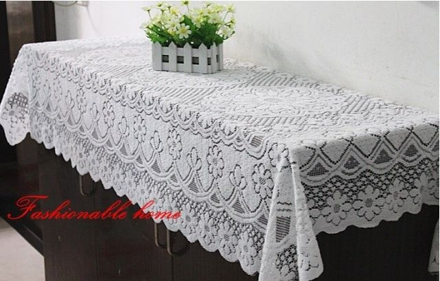 90*160cm Rustic 100% Lace cloth pure white color table - Daily Using Variety Shops store