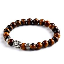 Fashion Jewelry Lava Stone Silver Color Buddha Charm Bracelet Tiger Eye Beads Bracelets For Women and Men mujer pulseras PD26(China (Mainland))