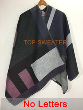 Oversized Sweater Cardigan 2015 Olivia Palermo Runway Catwalk Street Snap Knitted Cardigan Plaid Cape Poncho Shawl Women Lady(China (Mainland))