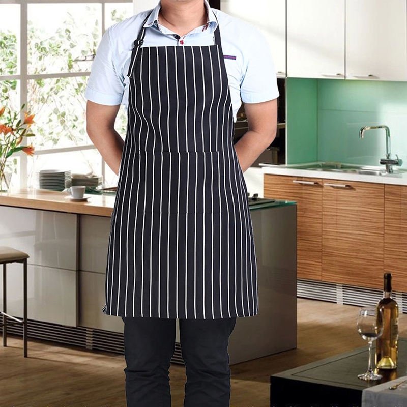 Hot Stripe Bib Apron with 2 Pockets Chef Waiter Kitchen Cook New Tool for Home Restaurant Free Shipping & Wholesale(China (Mainland))