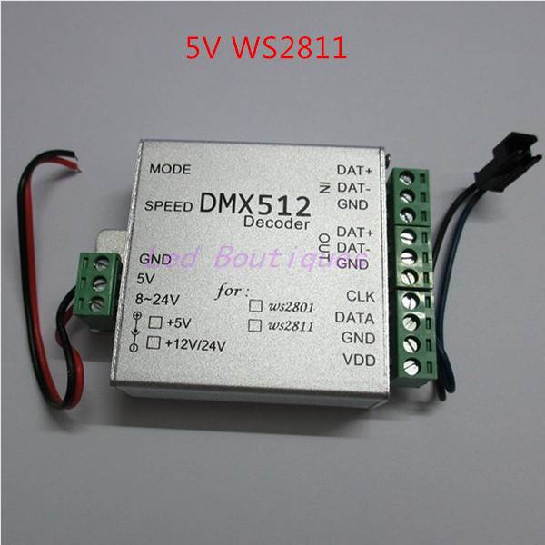 best price 1 pcs WS2811 DC5V DMX LED RGB Controller dmx512 decoder(China (Mainland))