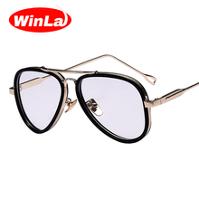 Winla New Fashion Transparent Clear Lens for Women Metal Frame Classic Vintage Style Optical Glasses Frame Female Eyewears(China (Mainland))