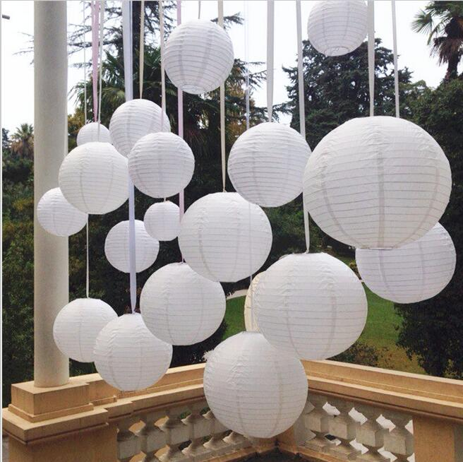 10pcs 6-8-10-12-14-16 Inch Round Chinese Lantern White Paper Lanterns For Wedding/holiday /festival/home Party Decorations(China (Mainland))