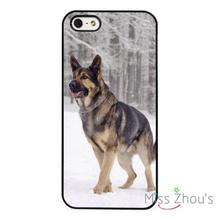 German Shepherd Dog Snow back skins mobile cellphone cases cover for iphone 4/4s 5/5s 5c SE 6/6s plus ipod touch 4/5/6