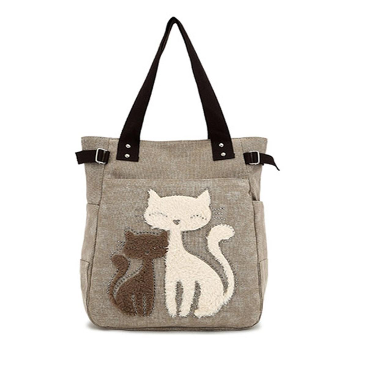 2015 Women Handbags Canvas Cute Cat  Appliques Portable Small Shoulder Bags Lady Shopping Zipper Totes 3 Colors Free shipping<br><br>Aliexpress