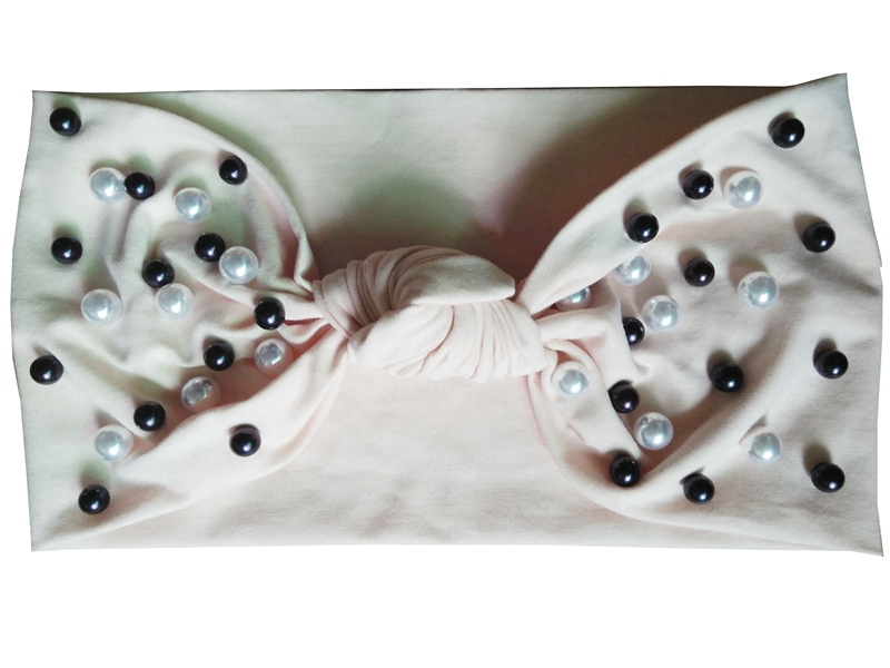 100% Stretchy lycra cotton Pearl knot headband, FREE EXPRESS SHIPMENT(China (Mainland))