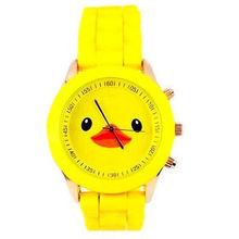 2015 nueva moda ginebra del cuarzo de pulsera pato lindo patrón banda de silicona relojes deportivos para niños niñas niños Dropship – w02