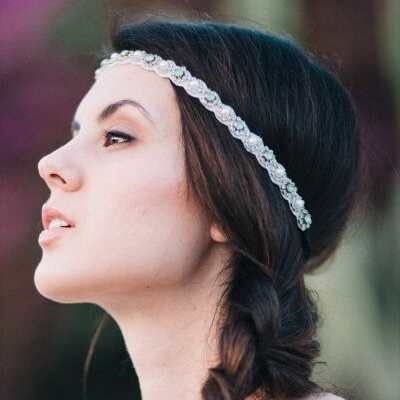 Elastic hair band Handmade accessories Queens Manual rhinestone headband Beaded headdresses Hair hand - Yifeijewelry store