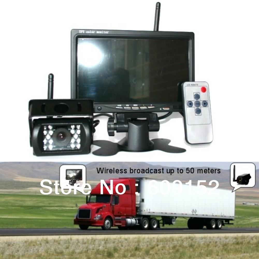 12v-24V 7 inch TFT LCD Monitor + IR Night HD Parking Camera Wireless 2.4G For Universal Truck Caravan Bus RV Rear Reverse Backup(China (Mainland))