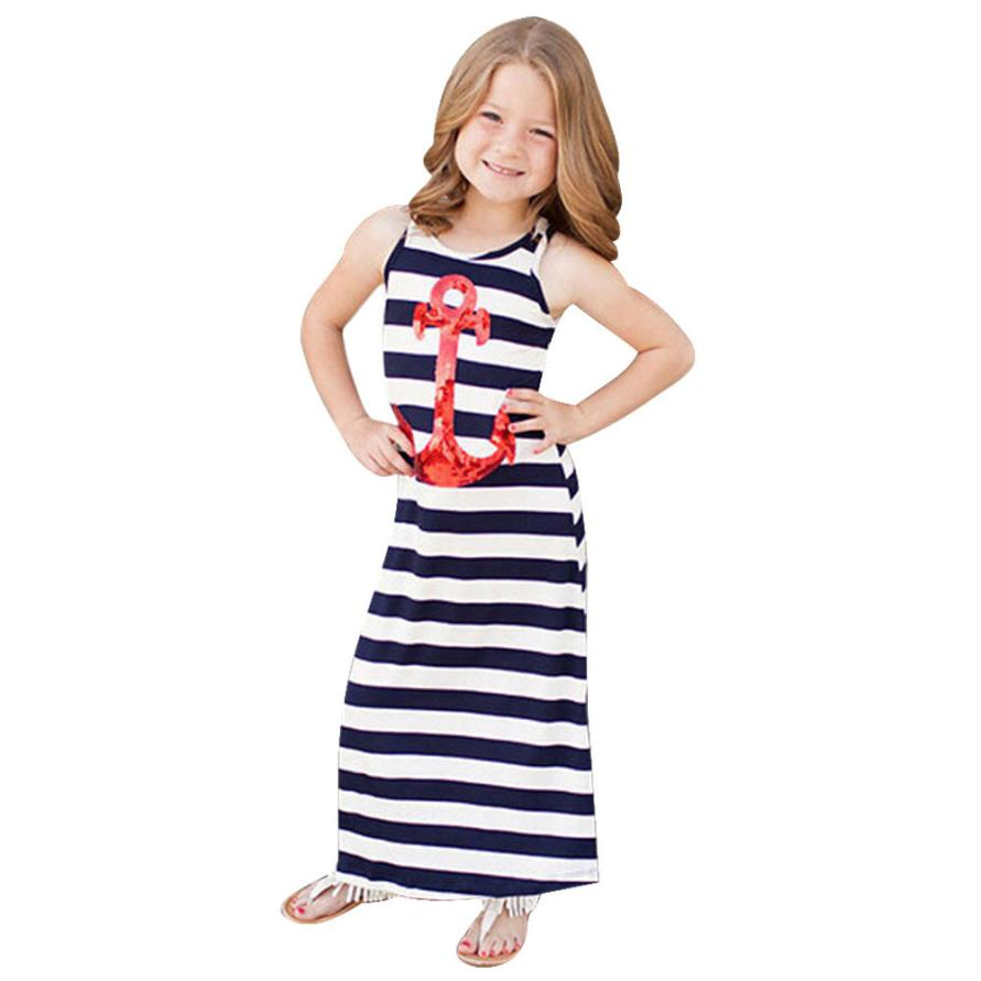 girls dresses summer 2016 Stripe sleeveless long dress toddler girl clothing costume for kids little girl dresses vestidos great(China (Mainland))