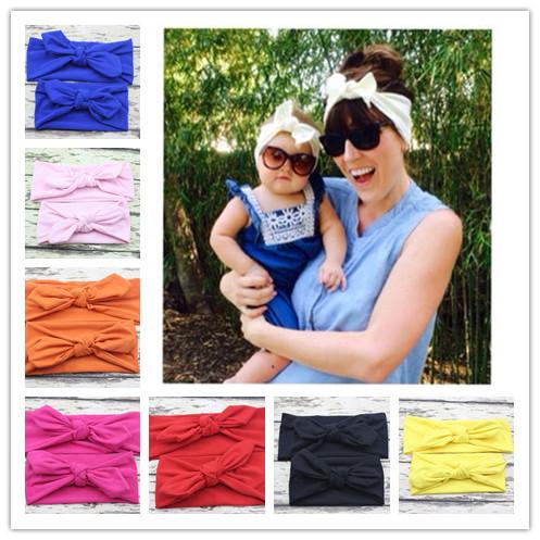 Mom and Me boho Turban Headband Pair Set Top Knotted Headband Set Fashion Baby and Mommy Cotton Headwrap Set 1 SET(China (Mainland))
