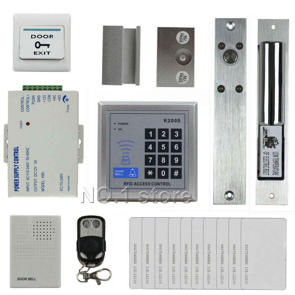 DIY 125KHz RFID Keypad Access Control System Security Kit + Dual Electric Drop Bolt Lock + Door Bell + Remote Control New(China (Mainland))