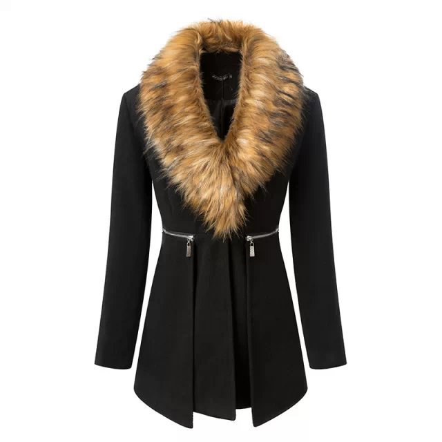 High Quality New Fashion Womens Wool Coat Fur Collars Outerwear Winter overcoat Women Blends ParkasОдежда и ак�е��уары<br><br><br>Aliexpress