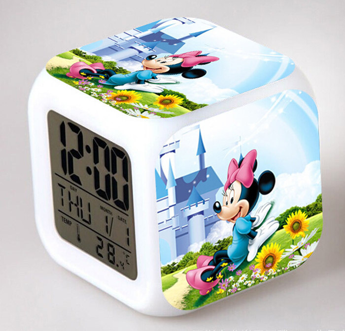 Classic Toys Kids Fashion Colorful Flash Touch Lights Mickey / Minnie Print Clock 7 Lights LED Alarm Clocks Children Despertador(China (Mainland))